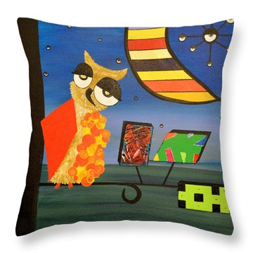 Original Acrylic Artwork By Mimi Stirn - Hoomasters Collection - Hoopicasso #410 Throw Pillow