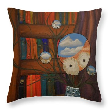 Original Artwork By Mimi Stirn - Hoomasters Collection - Hoo Magritte #411 Throw Pillow