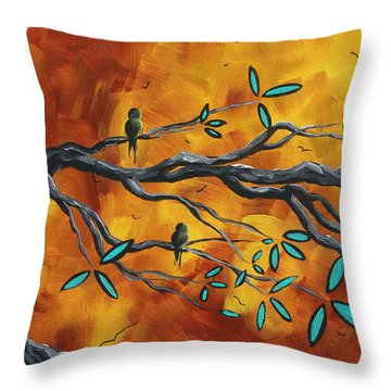Original Bird Landscape Art Contemporary Painting After The Storm II By Madart Throw Pillow by Megan Duncanson