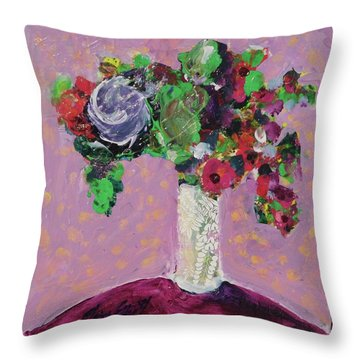 Original Bouquetaday Floral Painting 12x12 On Canvas, By Elaine Elliott, 59.00 Incl. Shipping Throw Pillow by Elaine Elliott