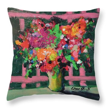 Original Bouquetaday Floral Painting By Elaine Elliott 59.00 Incl Shipping 12x12 On Canvas Throw Pillow