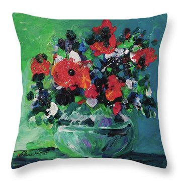 Original Bouquetaday Floral Painting By Elaine Elliott, Blues And Greens, 12x12, 59.00 Incl. Shippin Throw Pillow