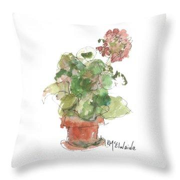 Original Buspaintings Geranium Watercolor Painting By Kathleen Mcelwaine Throw Pillow