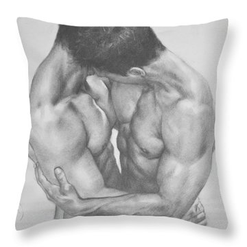 Original Drawing Sketch Charcoal  Male Nude Gay Interest Man Art Pencil On Paper -0041 Throw Pillow