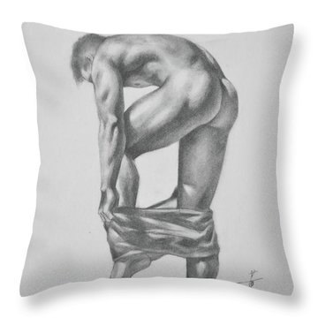 Original Drawing Sketch Charcoal Pencil Gay Interest Man Art  On Paper #11-17-14 Throw Pillow