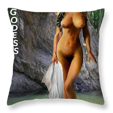 Original Female Nude Jean Goddess Venus Bathing Poster Throw Pillow