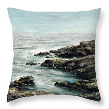 Original Fine Art Painting Bass Rocks Massachusetts Throw Pillow