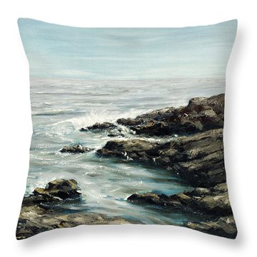 Original Fine Art Painting Bass Rocks Massachusetts Throw Pillow