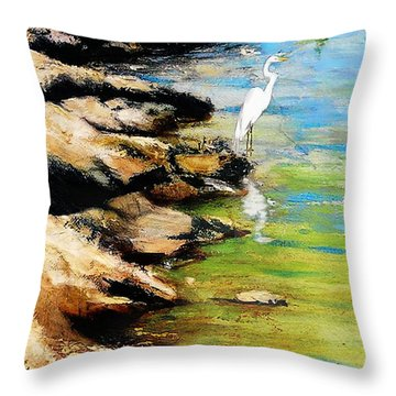 Original Fine Art Painting Pool Edge Gulf Coast Florida Throw Pillow