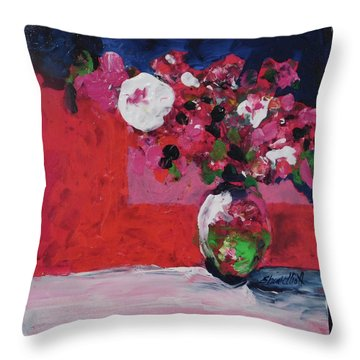 Original Floral Painting By Elaine Elliott, 12x12 Acrylic And Collage, 59.00 Incl. Shipping, Contemp Throw Pillow