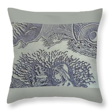 Original Linoleum Block Print Throw Pillow by Thor Senior