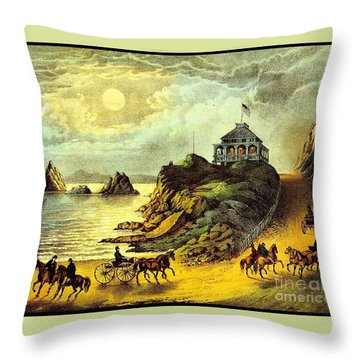 Original San Francisco Cliff House Circa 1865 Throw Pillow