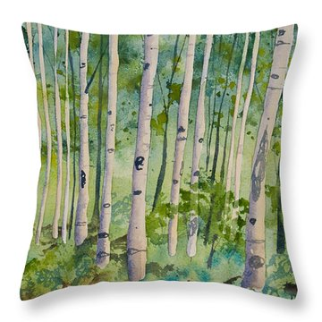 Throw Pillow featuring the painting Original Watercolor - Summer Aspen Forest by Cascade Colors