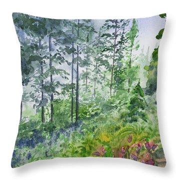Original Watercolor - Summer Pine Forest Throw Pillow