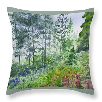 Throw Pillow featuring the painting Original Watercolor - Summer Pine Forest by Cascade Colors