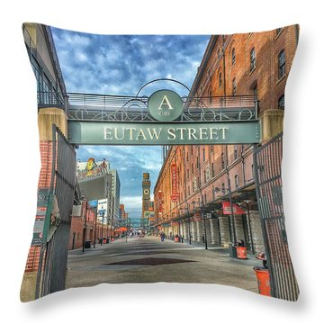 Oriole Park At Camden Yards - Eutaw Street Gate Throw Pillow