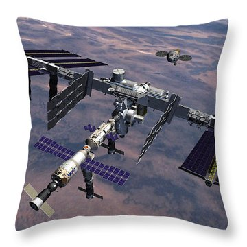 Orion Approaching Iss Throw Pillow