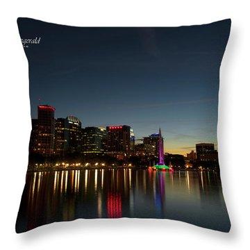 Orlando Beautiful Lake Eola Sunset Throw Pillow
