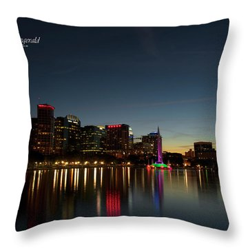 Orlando Beautiful Lake Eola Sunset Throw Pillow