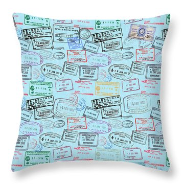 Throw Pillow featuring the mixed media World Traveler Passport Stamp Pattern - Light Blue by Mark Tisdale