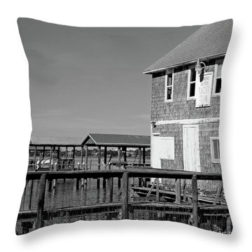 Ormond Yacht Club Black And White Throw Pillow by DigiArt Diaries by Vicky B Fuller