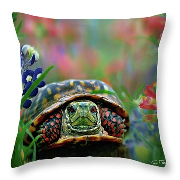 Ornate Box Turtle Throw Pillow