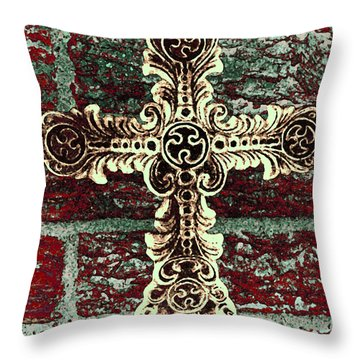 Ornate Cross 1 Throw Pillow by Angelina Vick