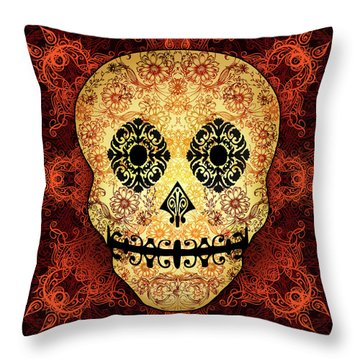 Ornate Floral Sugar Skull Throw Pillow by Tammy Wetzel