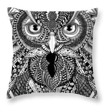 Ornate Owl Throw Pillow