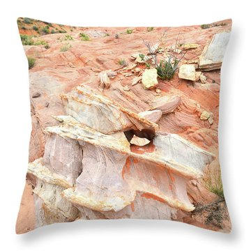 Throw Pillow featuring the photograph Ornate Rock In Wash 4 Of Valley Of Fire by Ray Mathis