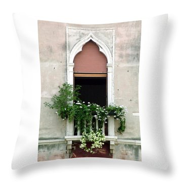Throw Pillow featuring the photograph Ornate Window With Red Shutters by Donna Corless