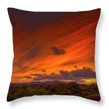 Throw Pillow featuring the photograph Oro Valley Sunset H6 by Mark Myhaver
