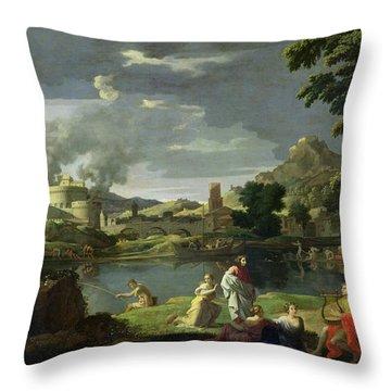 Orpheus And Eurydice Throw Pillow by Nicolas Poussin