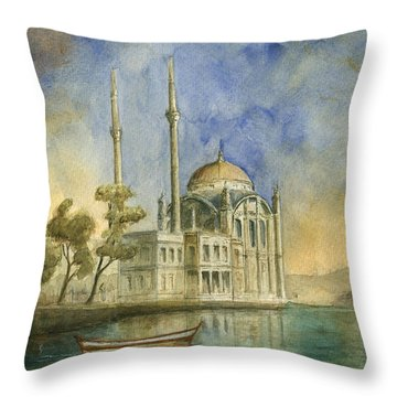 Ortakoy Mosque Istanbul Throw Pillow
