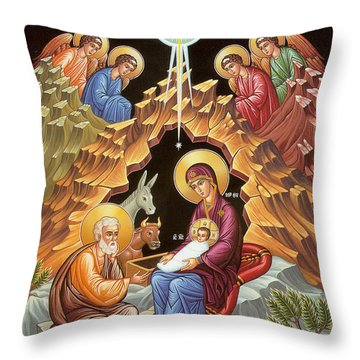 Orthodox Nativity Scene Throw Pillow