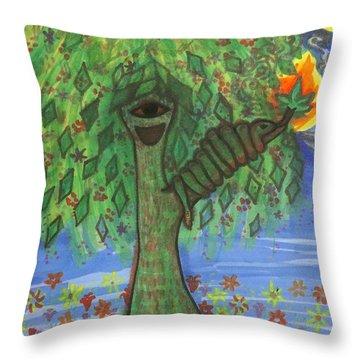 Osain Tree Throw Pillow