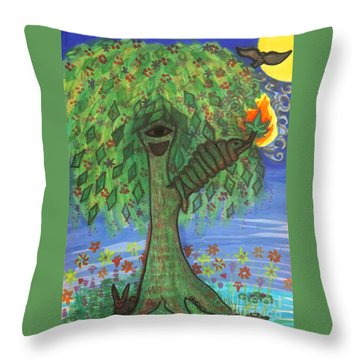 Osain Tree Throw Pillow