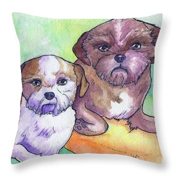 Oscar And Max Throw Pillow by Whitney Morton