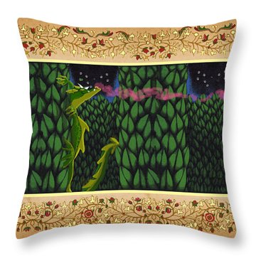 Throw Pillow featuring the digital art Oscar Climbed The Hedges by Donna Huntriss