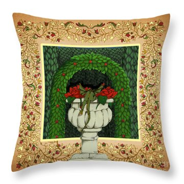 Throw Pillow featuring the digital art Oscar Climbed To The Top by Donna Huntriss