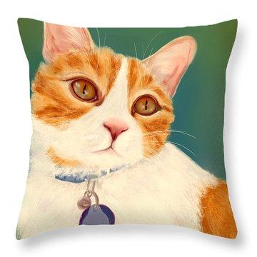 Oscar- Orange Tabby  Throw Pillow
