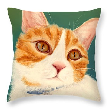 Oscar- Orange Tabby  Throw Pillow