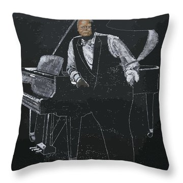 Throw Pillow featuring the painting Oscar Peterson by Richard Le Page
