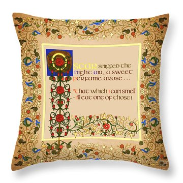Throw Pillow featuring the digital art Oscar Sniffed Txt Version by Donna Huntriss