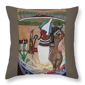Blaa Kattproduksjoner         Osiris With Goddess Isis And 4 Grandkids Throw Pillow