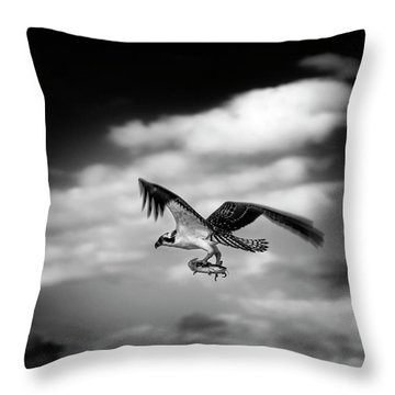 Throw Pillow featuring the photograph Osprey Catch Of The Day by Chrystal Mimbs
