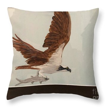 Throw Pillow featuring the painting Osprey by Donald Paczynski