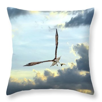 Osprey Flying In Clouds At Sunset With Fish In Talons Throw Pillow