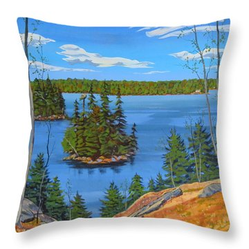 Throw Pillow featuring the painting Osprey Island by David Gilmore