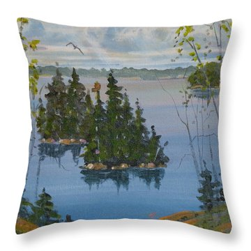 Throw Pillow featuring the painting Osprey Island Study by David Gilmore